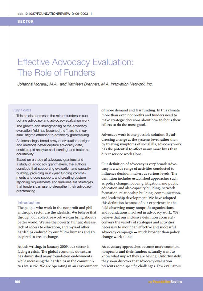 Effective Advocacy Evaluation