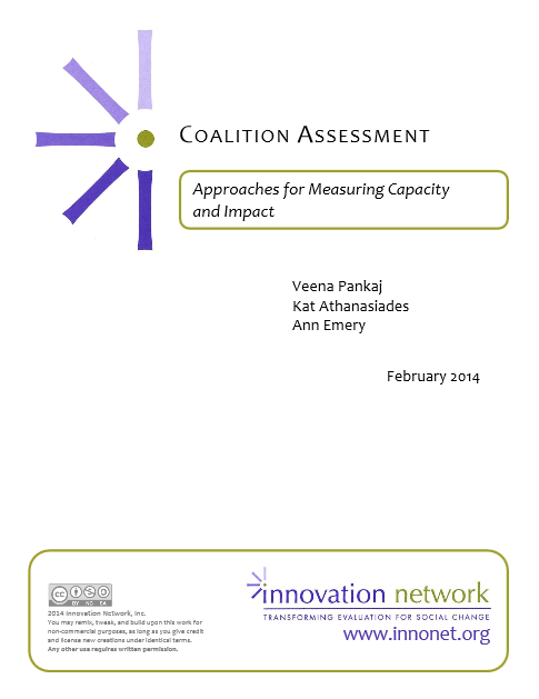 (White paper cover) Coalition Assessment: Approaches for Measuring Capacity and Impact